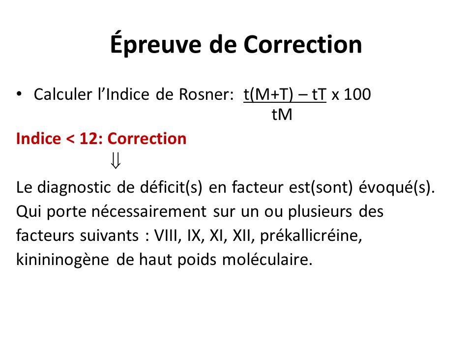 Épreuve de Correction Calculer l'Indice de Rosner: t(M+T) – tT x 100 tM.