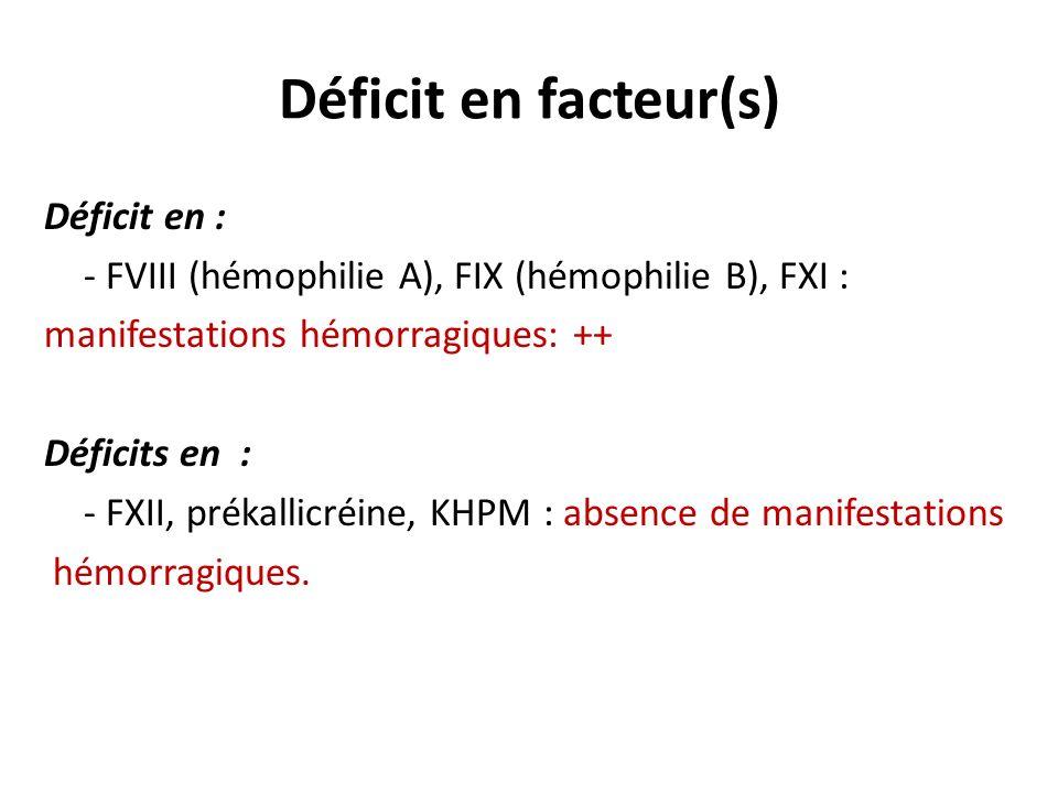 Déficit en facteur(s) Déficit en :