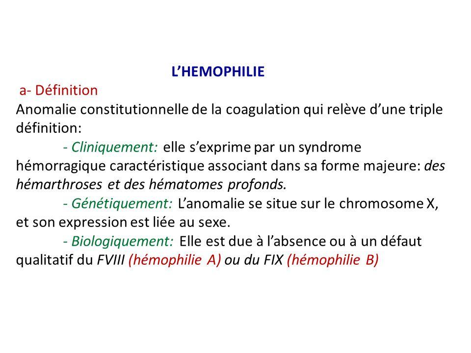 L'HEMOPHILIE a- Définition Anomalie constitutionnelle de la coagulation qui relève d'une triple définition: - Cliniquement: elle s'exprime par un syndrome hémorragique caractéristique associant dans sa forme majeure: des hémarthroses et des hématomes profonds.