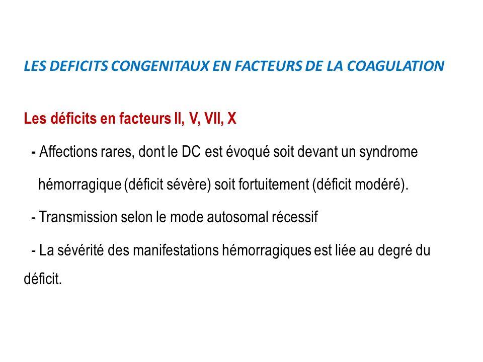 LES DEFICITS CONGENITAUX EN FACTEURS DE LA COAGULATION