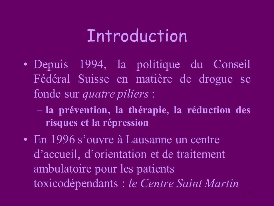 Introduction Depuis 1994, la politique du Conseil Fédéral Suisse en matière de drogue se fonde sur quatre piliers :