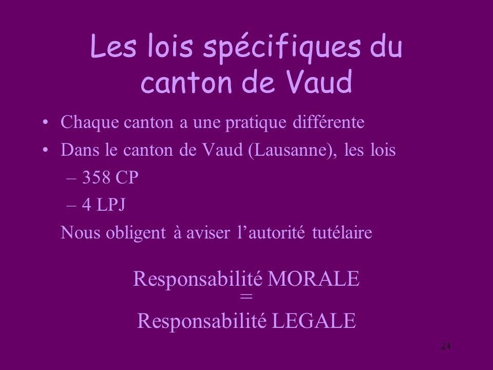 Les lois spécifiques du canton de Vaud