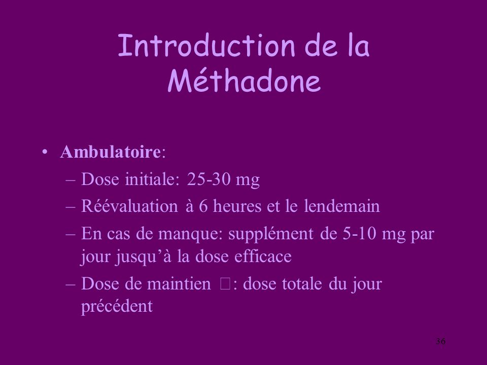 Introduction de la Méthadone