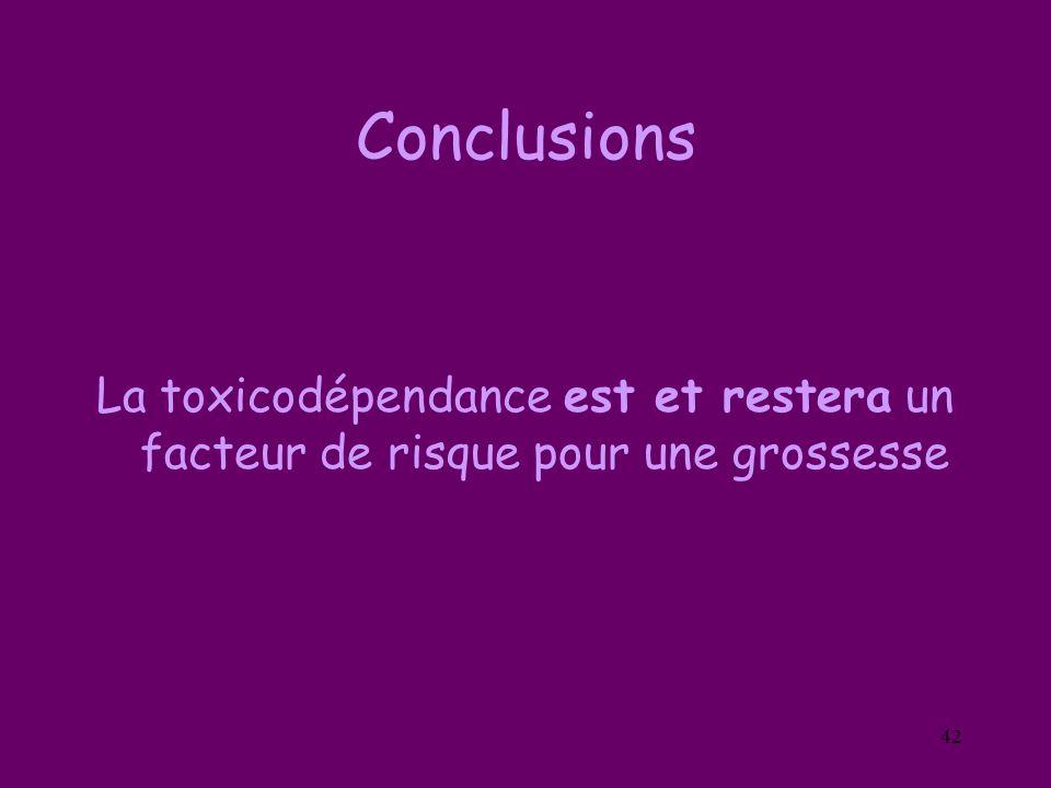Conclusions La toxicodépendance est et restera un facteur de risque pour une grossesse