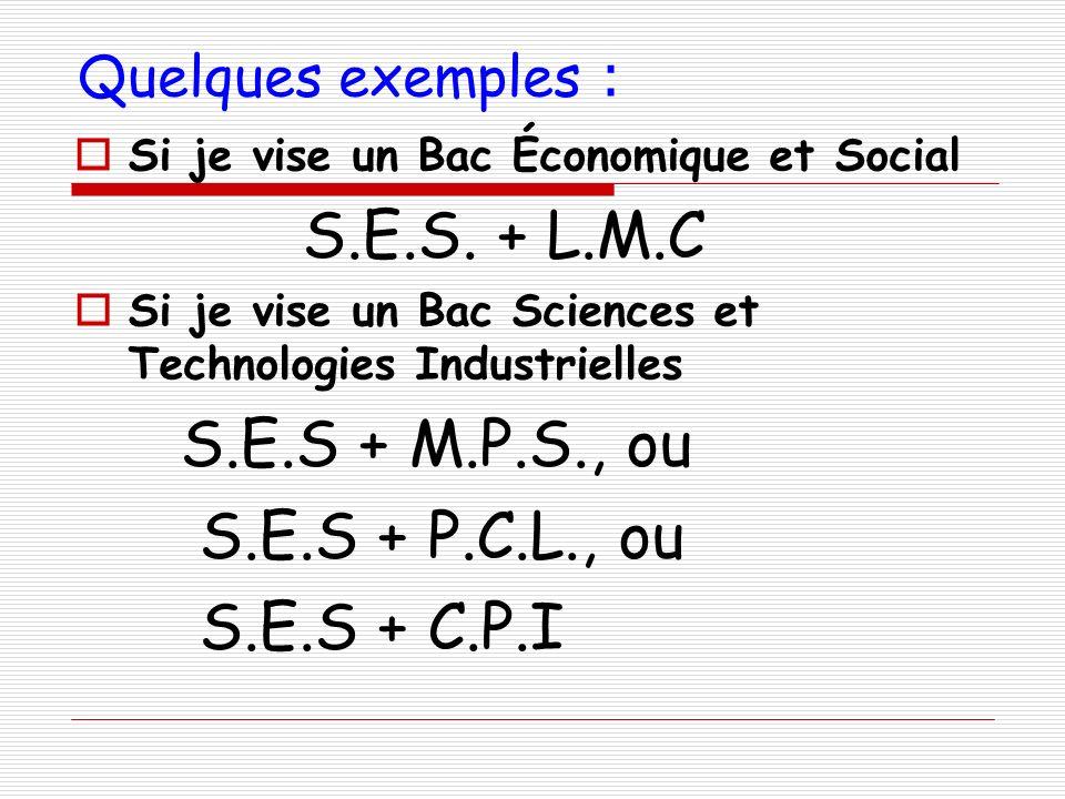 S.E.S. + L.M.C S.E.S + M.P.S., ou S.E.S + P.C.L., ou S.E.S + C.P.I