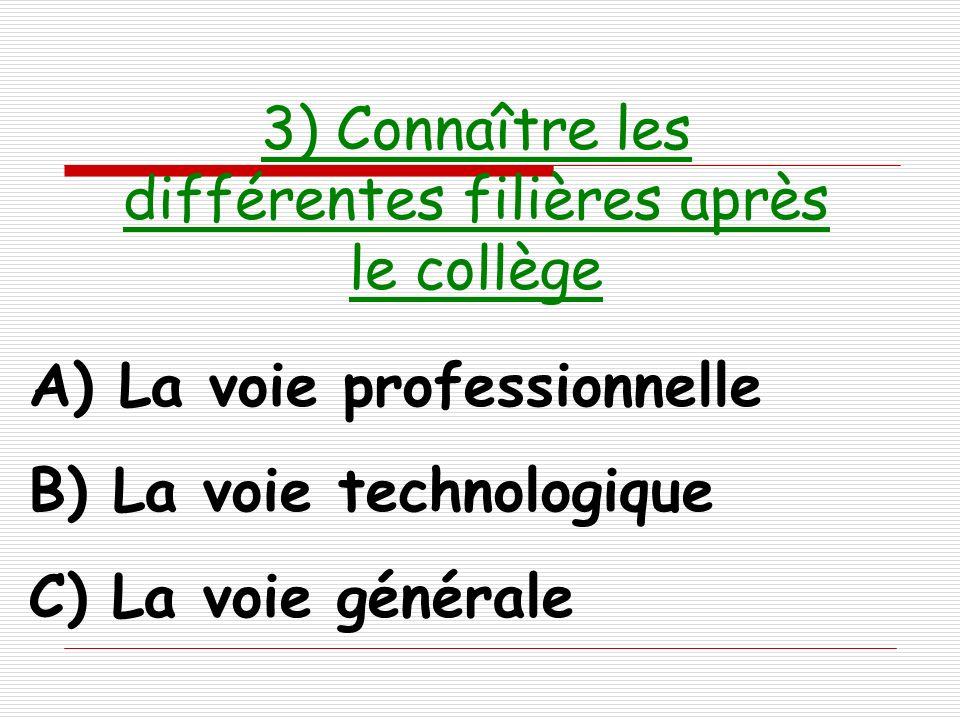 3) Connaître les différentes filières après le collège
