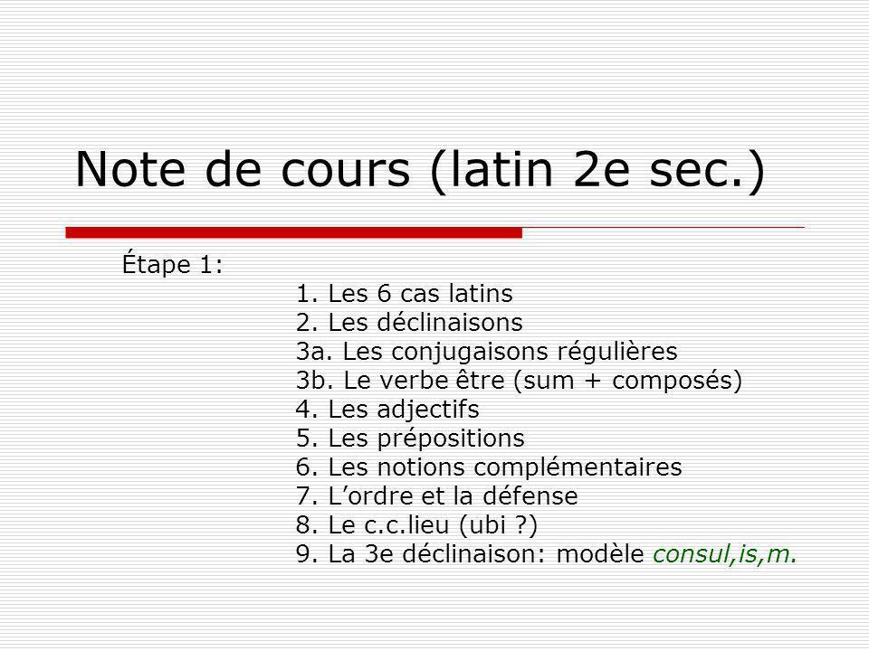 Note de cours (latin 2e sec.)