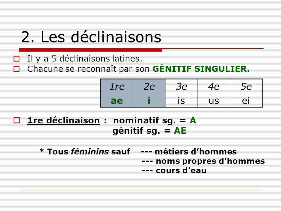 2. Les déclinaisons 1re 2e 3e 4e 5e ae i is us ei