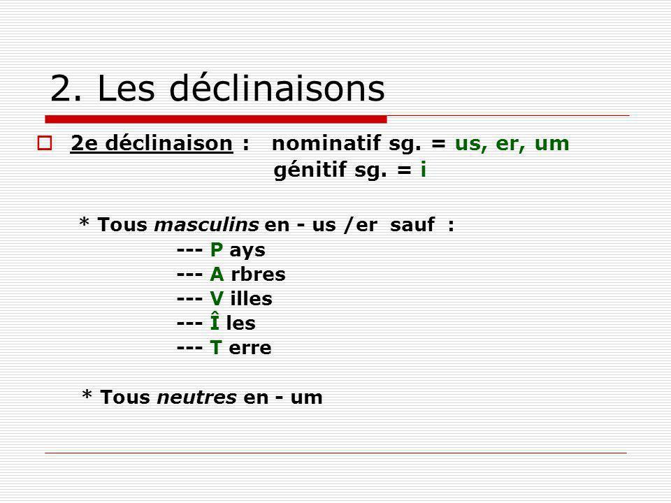 2. Les déclinaisons 2e déclinaison : nominatif sg. = us, er, um