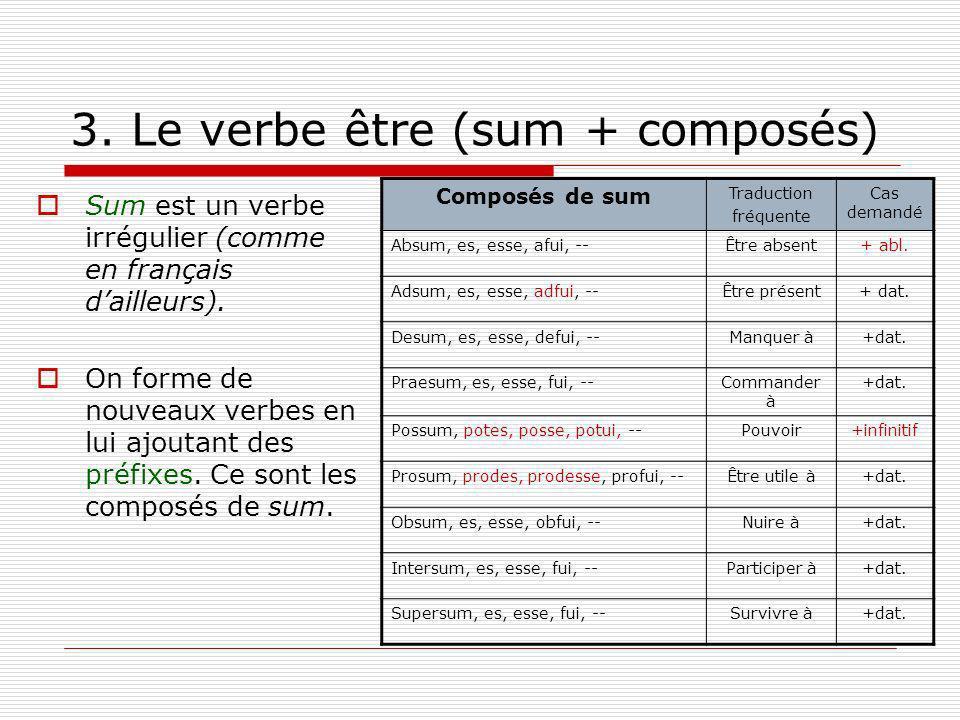 3. Le verbe être (sum + composés)