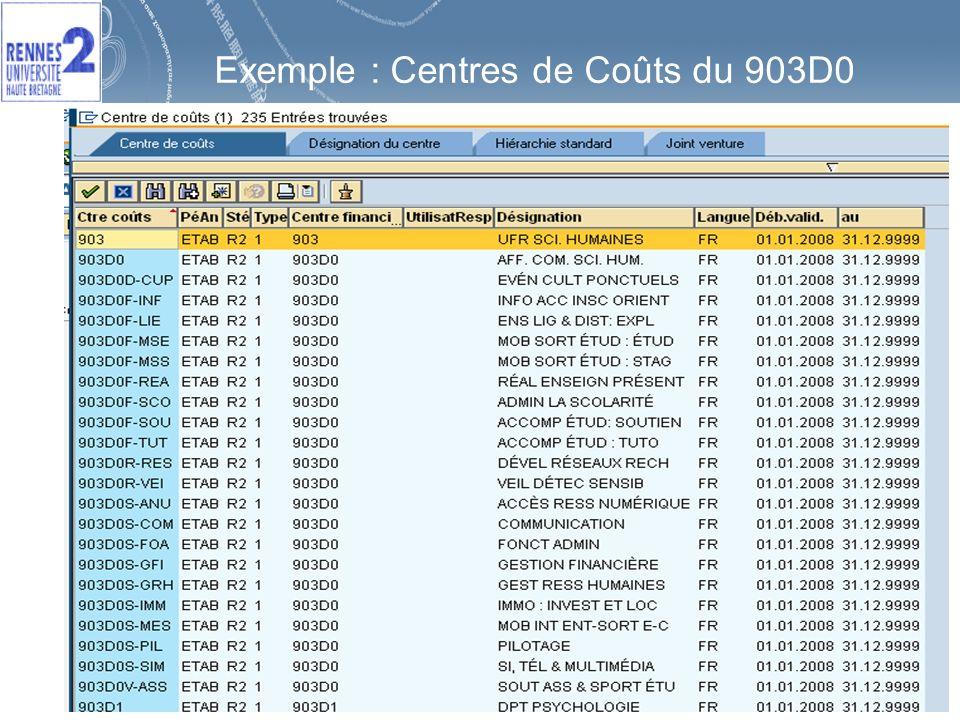 Exemple : Centres de Coûts du 903D0
