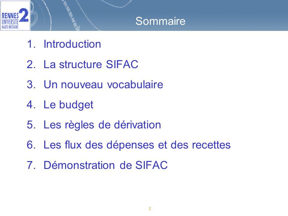Sommaire Introduction. La structure SIFAC. Un nouveau vocabulaire. Le budget. Les règles de dérivation.