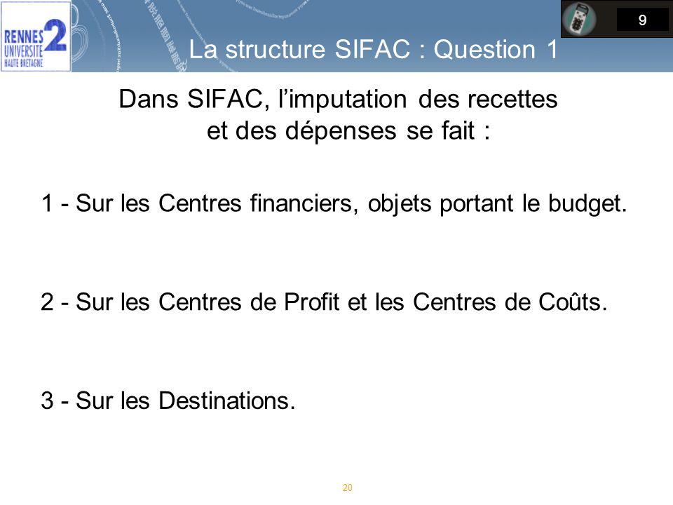 Dans SIFAC, l'imputation des recettes et des dépenses se fait :