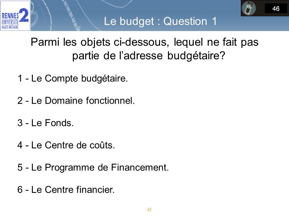 Le budget : Question 1 46. Parmi les objets ci-dessous, lequel ne fait pas partie de l'adresse budgétaire