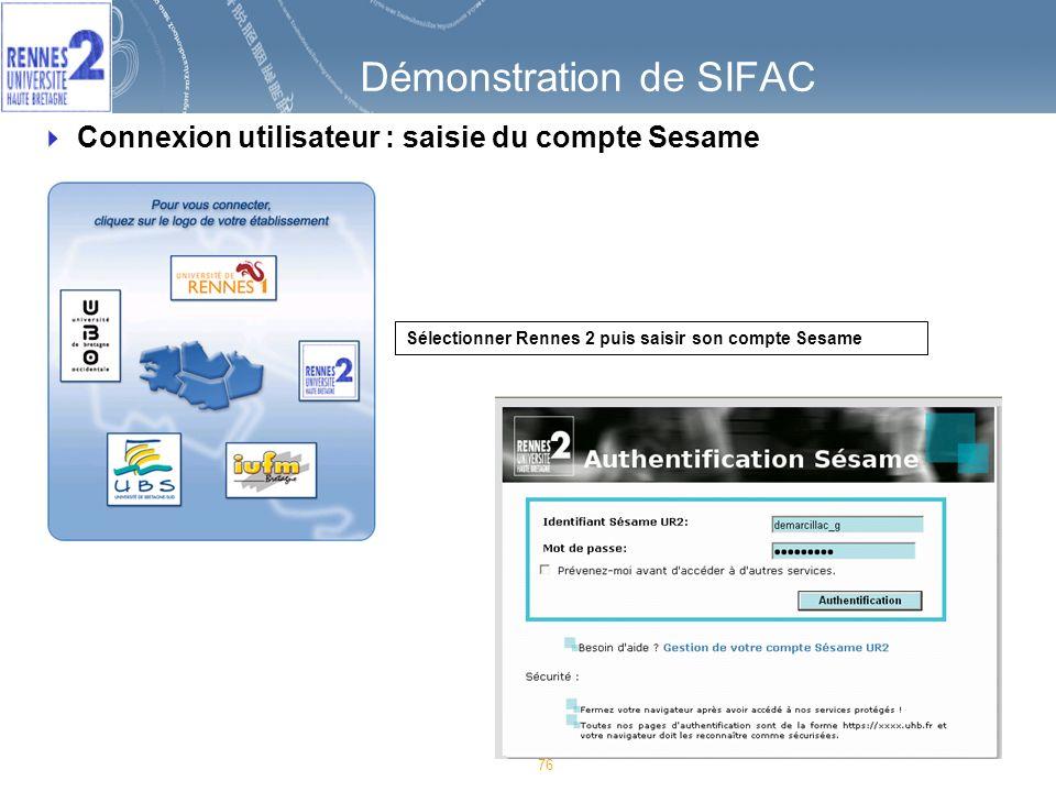 Démonstration de SIFAC