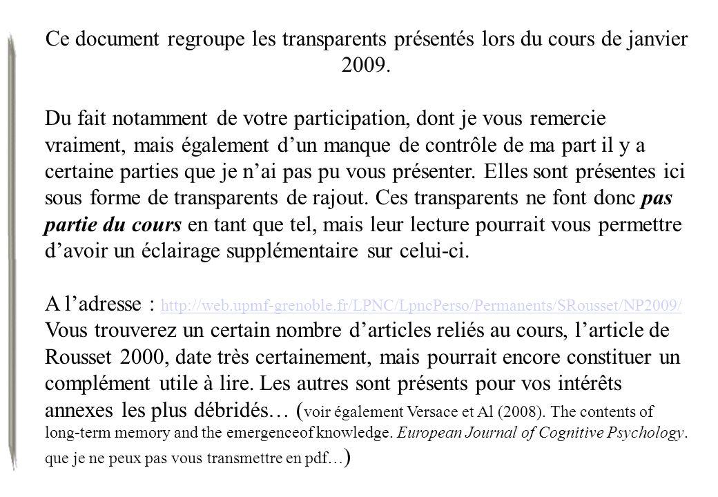 Ce document regroupe les transparents présentés lors du cours de janvier 2009.