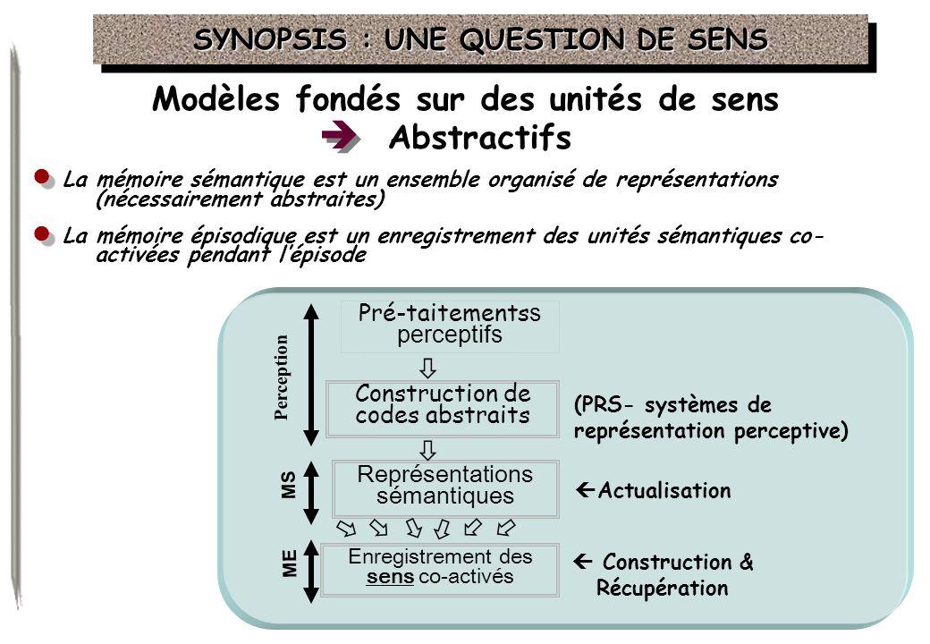  Modèles fondés sur des unités de sens Abstractifs