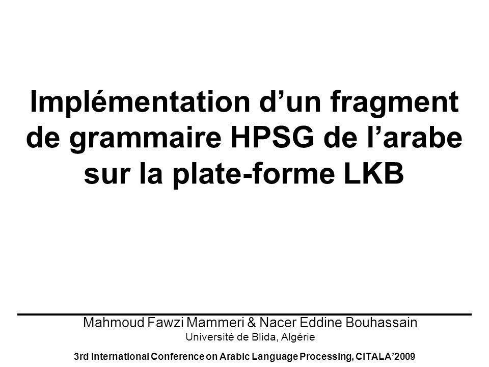 Implémentation d'un fragment de grammaire HPSG de l'arabe sur la plate-forme LKB