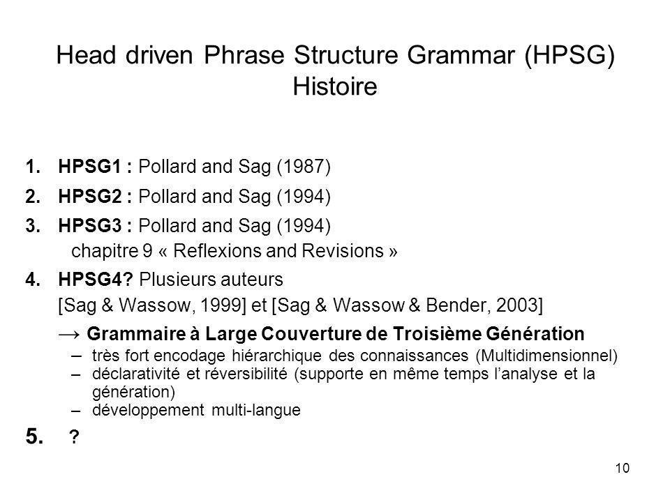 Head driven Phrase Structure Grammar (HPSG) Histoire