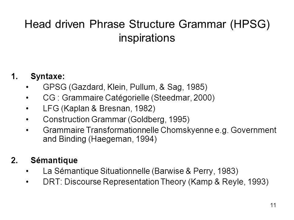Head driven Phrase Structure Grammar (HPSG) inspirations