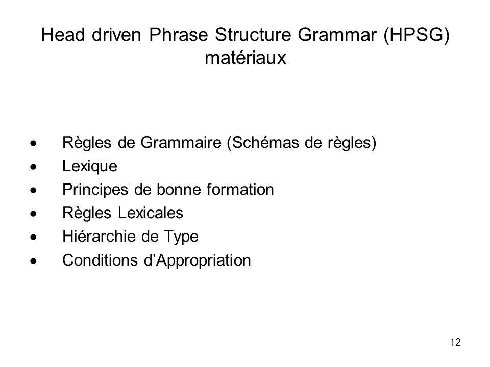 Head driven Phrase Structure Grammar (HPSG) matériaux