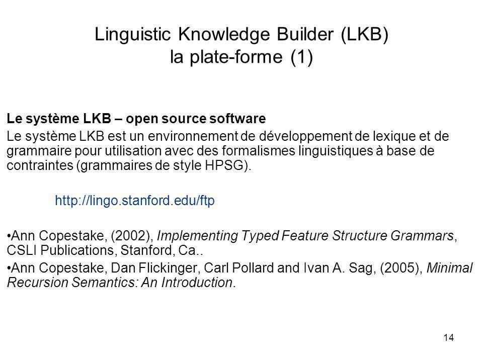 Linguistic Knowledge Builder (LKB) la plate-forme (1)