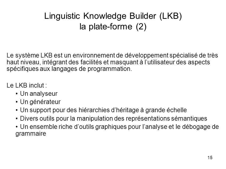 Linguistic Knowledge Builder (LKB) la plate-forme (2)