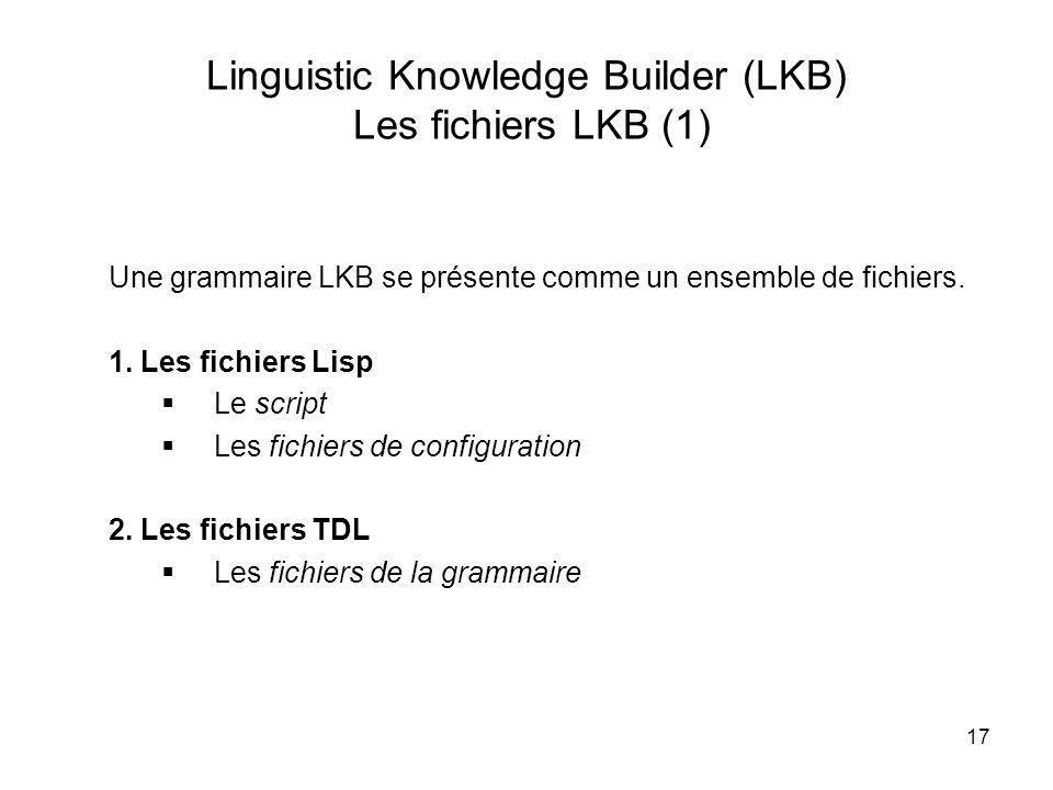 Linguistic Knowledge Builder (LKB) Les fichiers LKB (1)