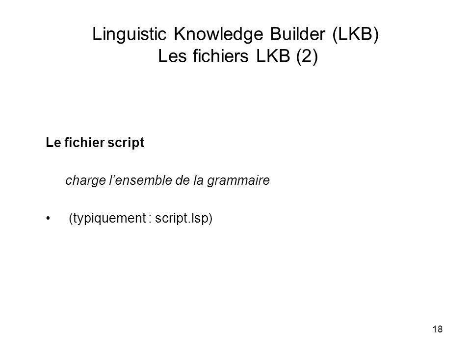 Linguistic Knowledge Builder (LKB) Les fichiers LKB (2)