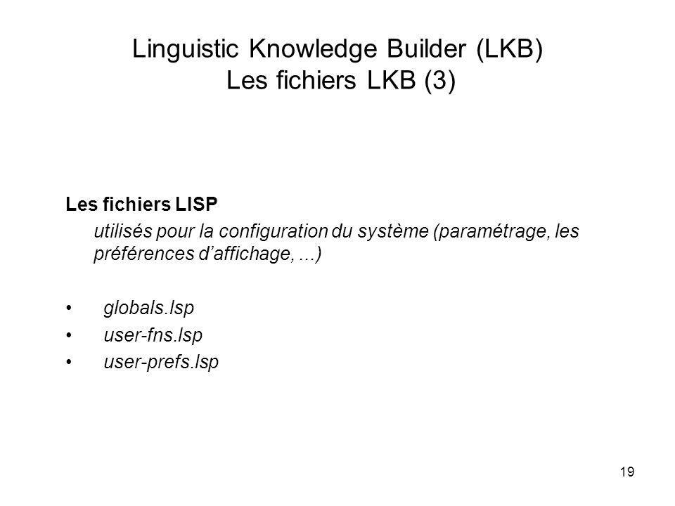 Linguistic Knowledge Builder (LKB) Les fichiers LKB (3)