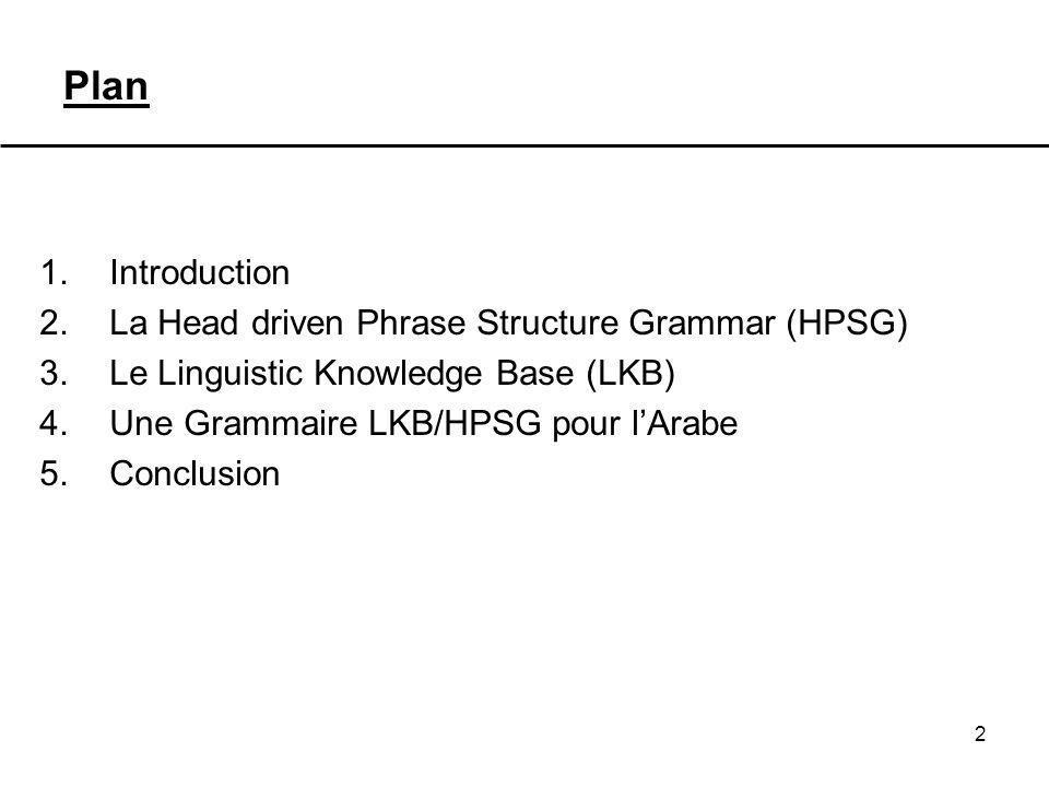 Plan Introduction La Head driven Phrase Structure Grammar (HPSG)