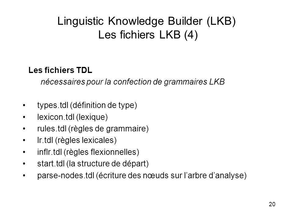 Linguistic Knowledge Builder (LKB) Les fichiers LKB (4)