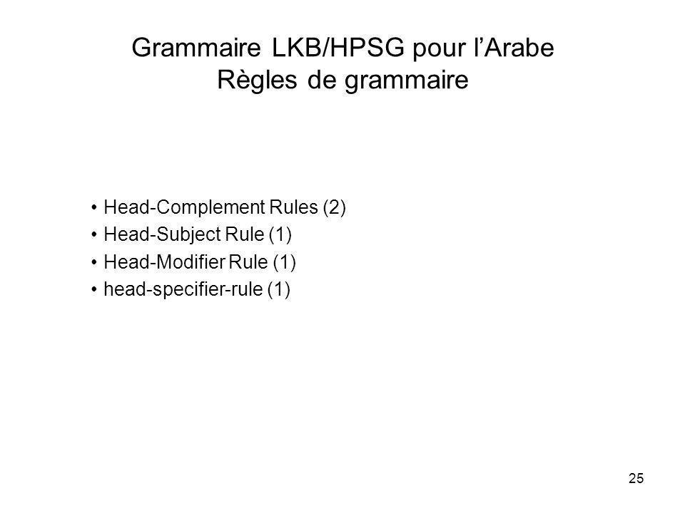 Grammaire LKB/HPSG pour l'Arabe Règles de grammaire