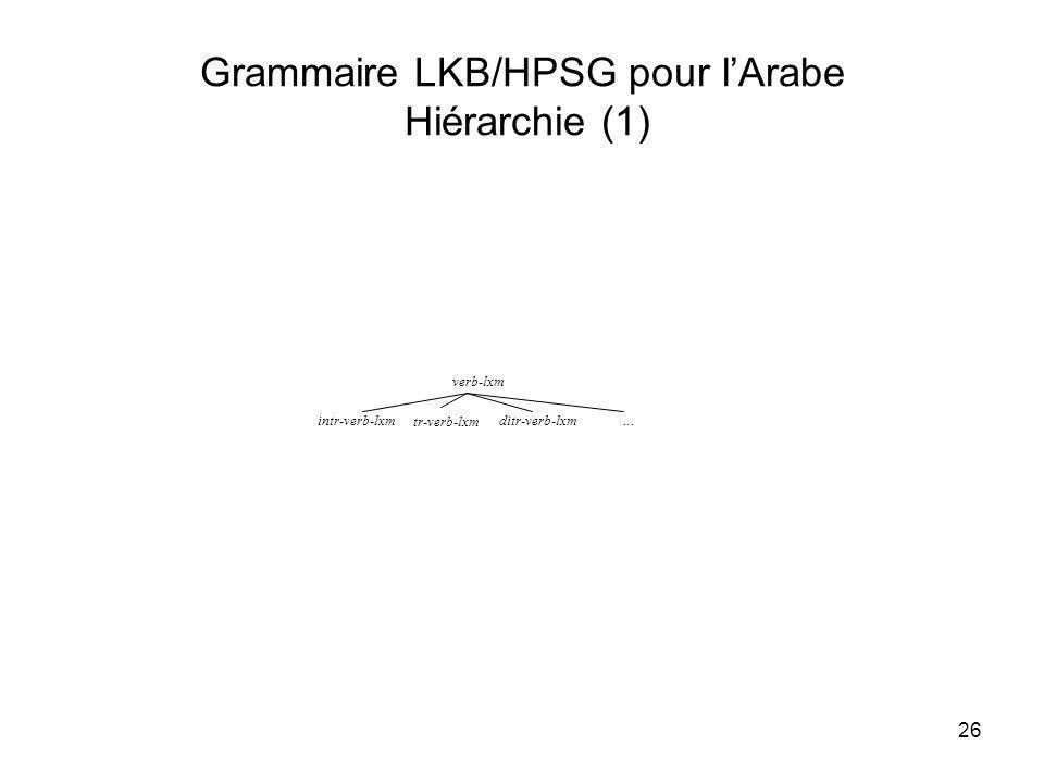 Grammaire LKB/HPSG pour l'Arabe Hiérarchie (1)