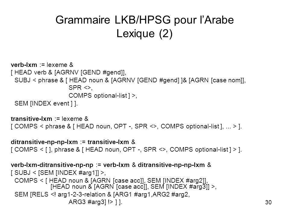 Grammaire LKB/HPSG pour l'Arabe Lexique (2)