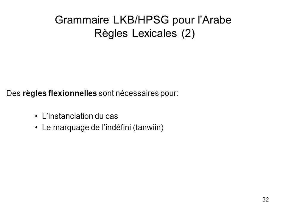 Grammaire LKB/HPSG pour l'Arabe Règles Lexicales (2)