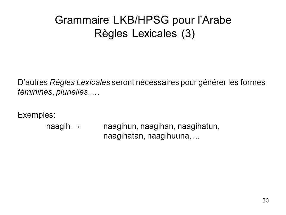Grammaire LKB/HPSG pour l'Arabe Règles Lexicales (3)