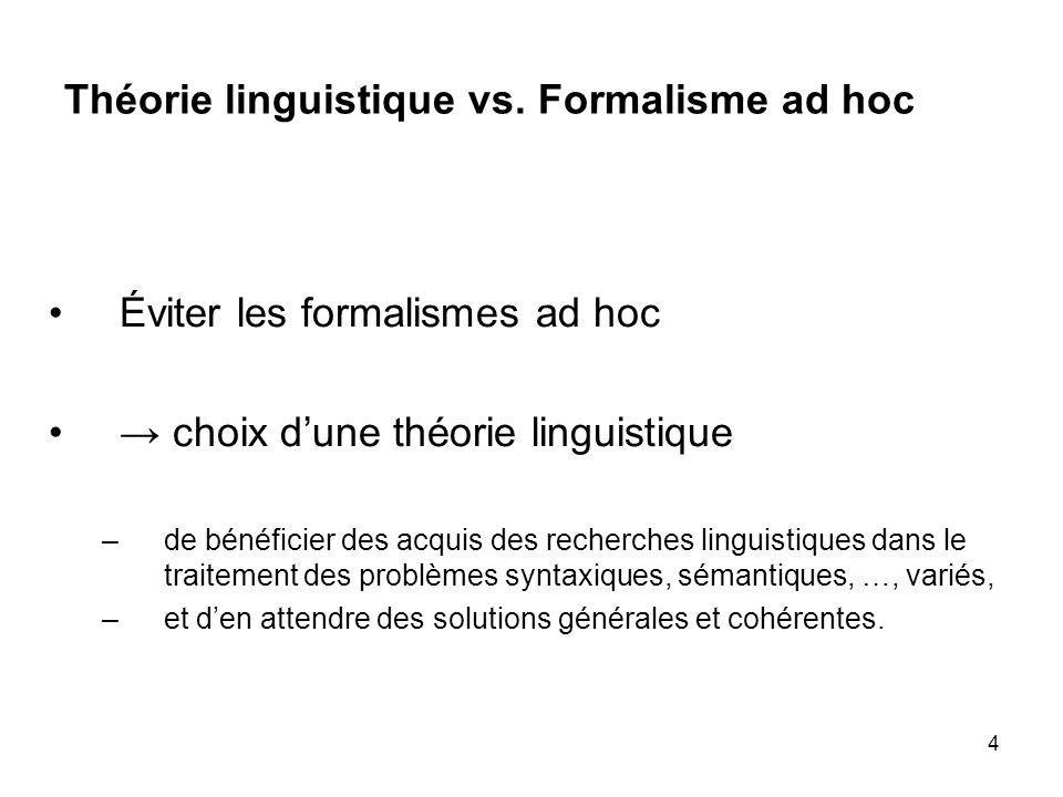 Théorie linguistique vs. Formalisme ad hoc