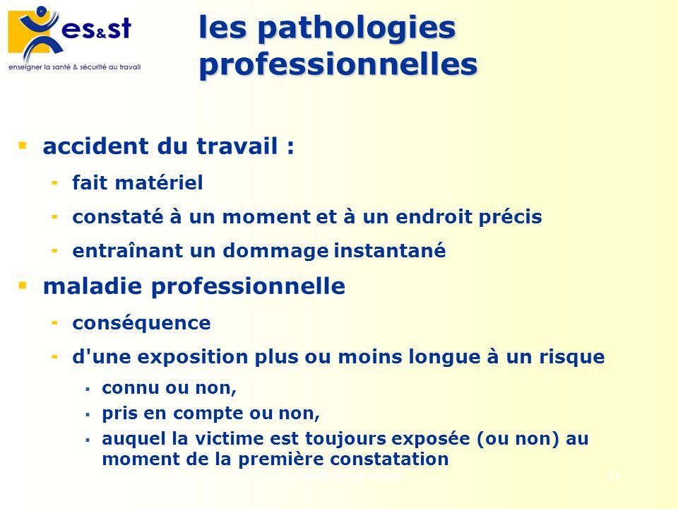les pathologies professionnelles