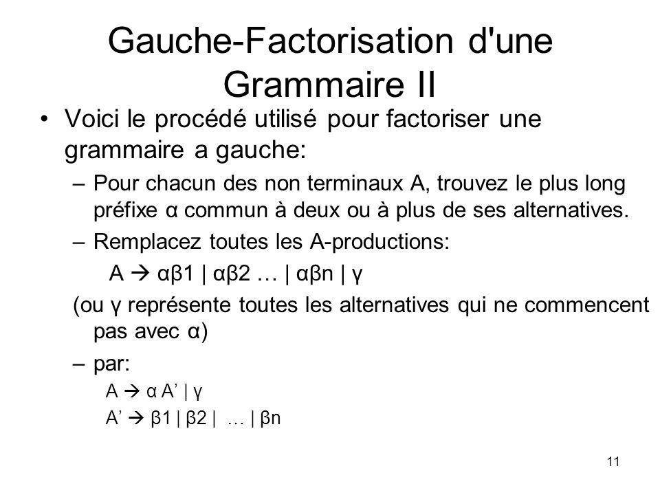 Gauche-Factorisation d une Grammaire II
