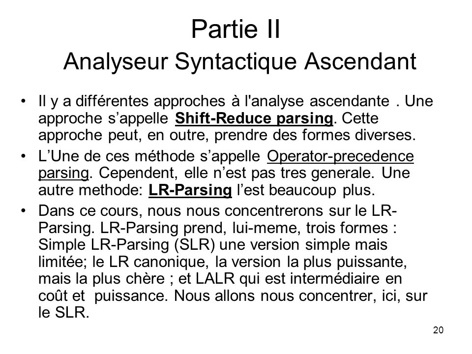 Partie II Analyseur Syntactique Ascendant