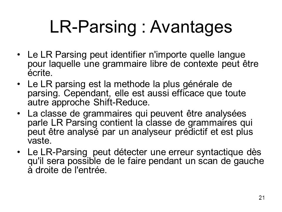 LR-Parsing : Avantages