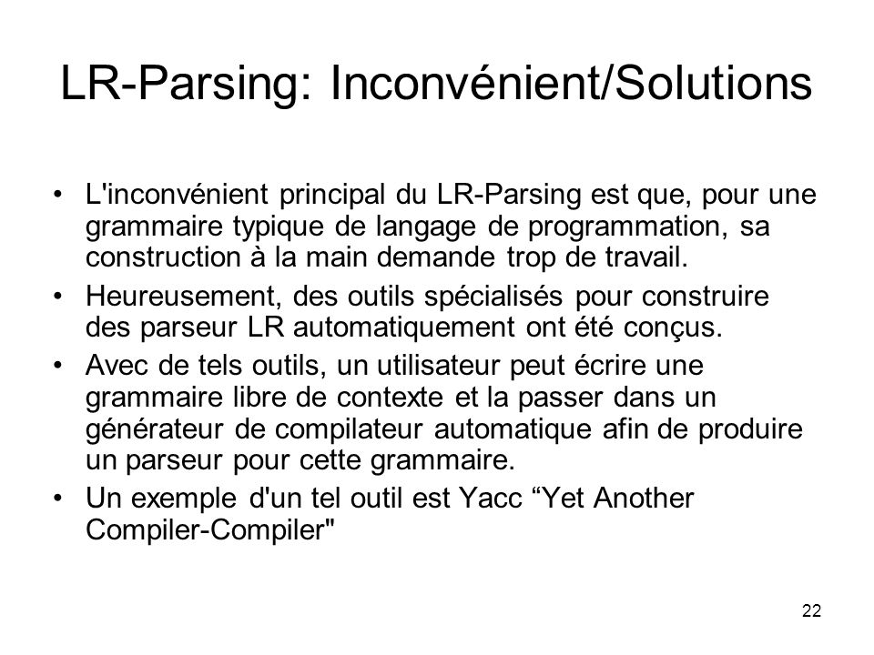 LR-Parsing: Inconvénient/Solutions