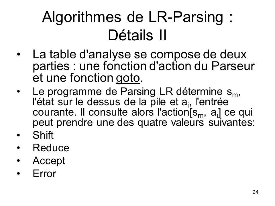 Algorithmes de LR-Parsing : Détails II