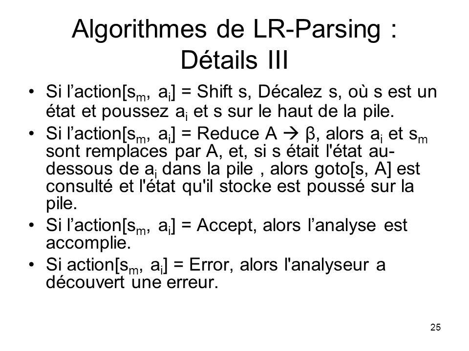 Algorithmes de LR-Parsing : Détails III