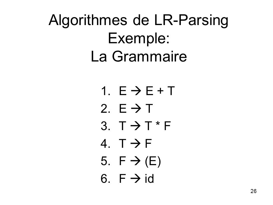 Algorithmes de LR-Parsing Exemple: La Grammaire