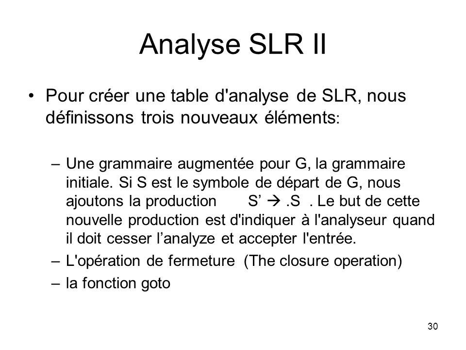 Analyse SLR II Pour créer une table d analyse de SLR, nous définissons trois nouveaux éléments: