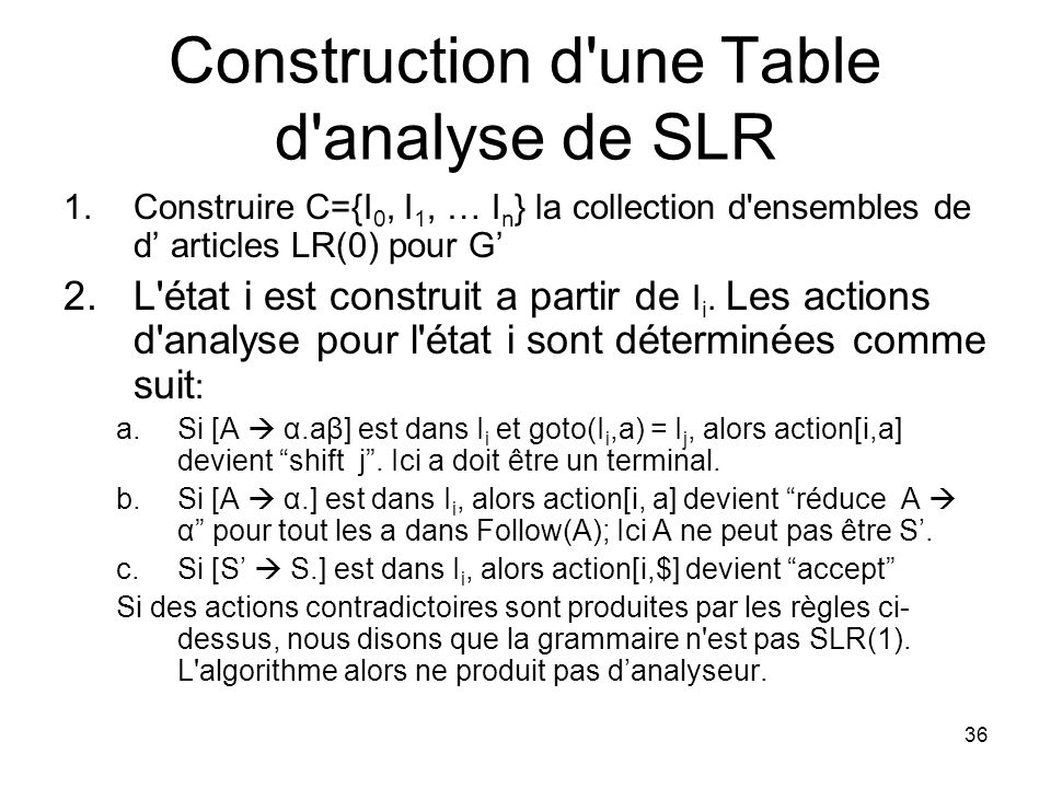 Construction d une Table d analyse de SLR