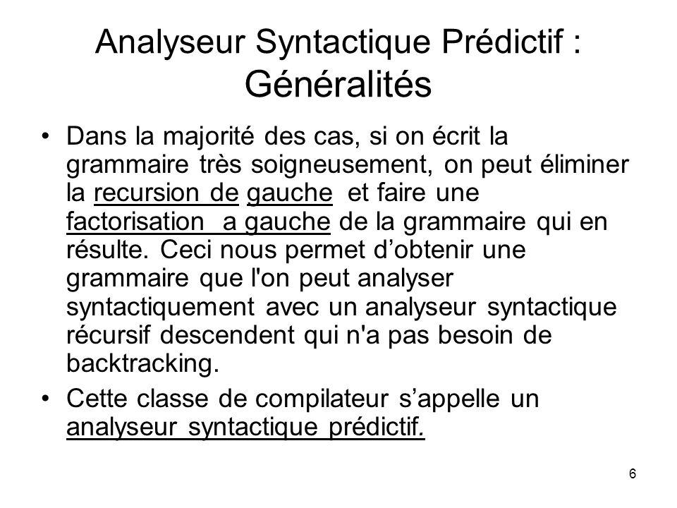 Analyseur Syntactique Prédictif : Généralités