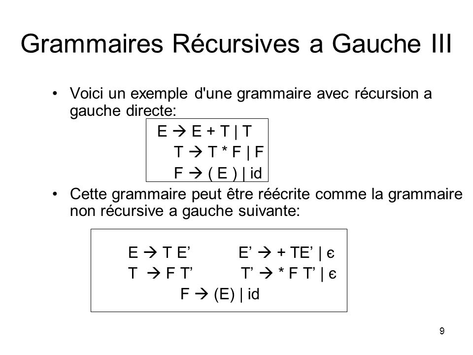 Grammaires Récursives a Gauche III